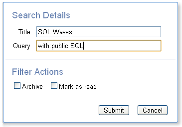 Google Wave Search Details panel with public search term example