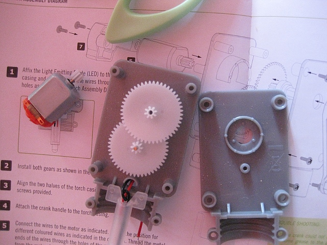 gears and LED in place